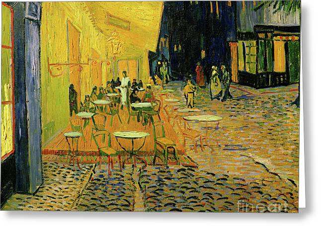 Cafe Terrace, Place Du Forum, Arles, 1888  Detail Greeting Card by Vincent Van Gogh