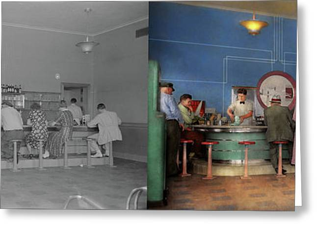 Cafe - The Half Way Point 1938 - Side By Side Greeting Card