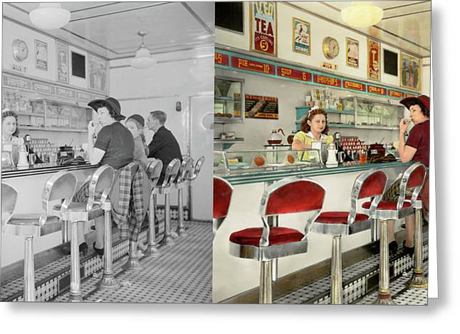 Cafe - The Local Hangout 1941 - Side By Side Greeting Card by Mike Savad