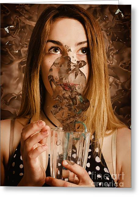 Cafe Tin Sign Girl Drinking Chocolate Milkshake Greeting Card by Jorgo Photography - Wall Art Gallery