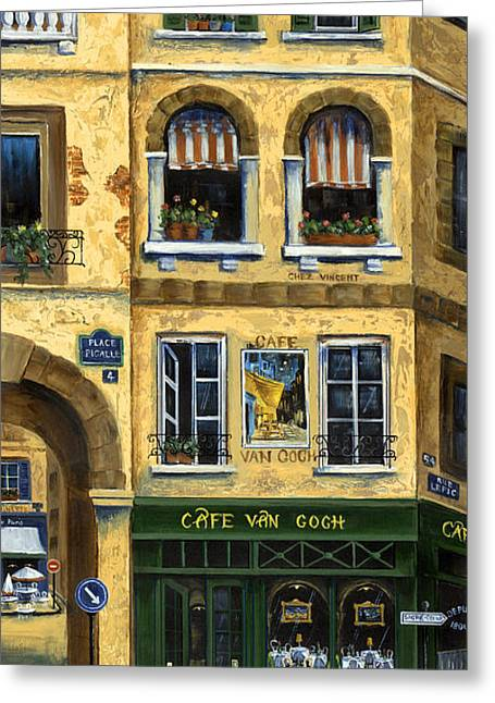 European Flower Shop Greeting Cards - Cafe Van Gogh Paris Greeting Card by Marilyn Dunlap