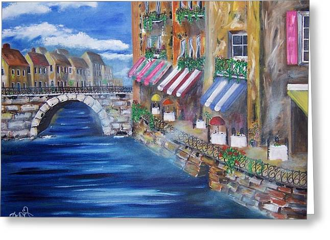 Cafe Walk Greeting Card by Penny Everhart