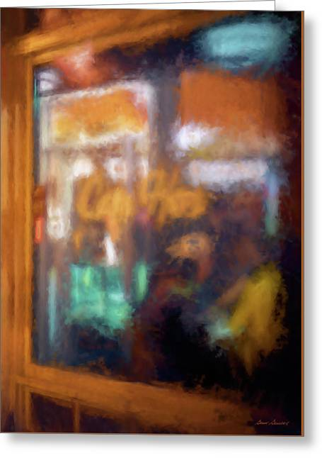 Cafe Window Greeting Card by Glenn Gemmell