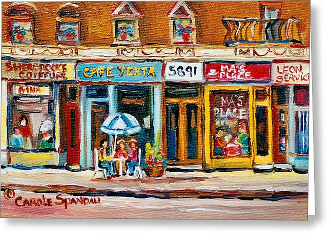 Cafe Yenta And Ma's Place Greeting Card by Carole Spandau