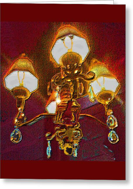 Cafe Chandelier Greeting Card by ARTography by Pamela Smale Williams