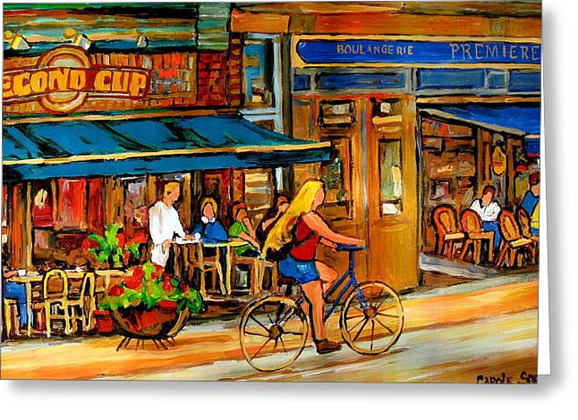 Out-of-date Greeting Cards - Cafes With Blue Awnings Greeting Card by Carole Spandau