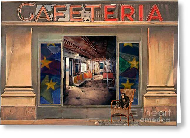 Greeting Card featuring the painting Cafeteria by Mojo Mendiola