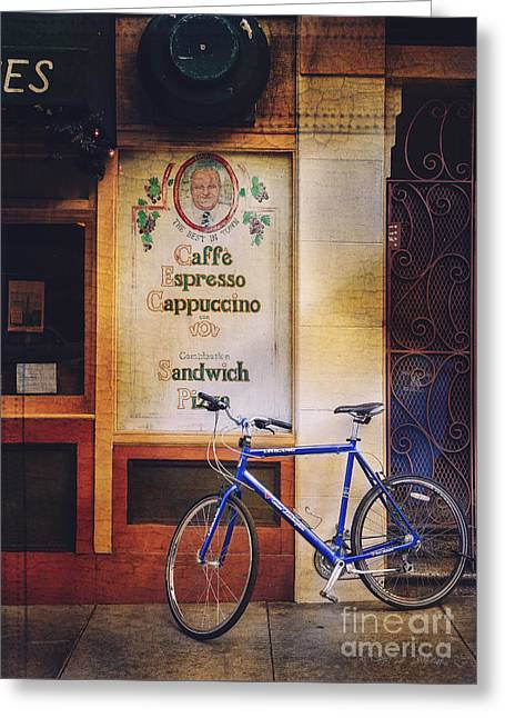 Caffe Expresso Bicycle Greeting Card by Craig J Satterlee