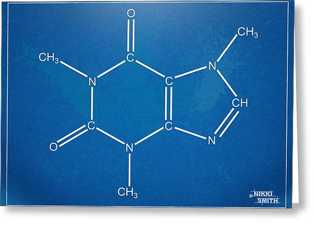 Schematic Greeting Cards - Caffeine Molecular Structure Blueprint Greeting Card by Nikki Marie Smith