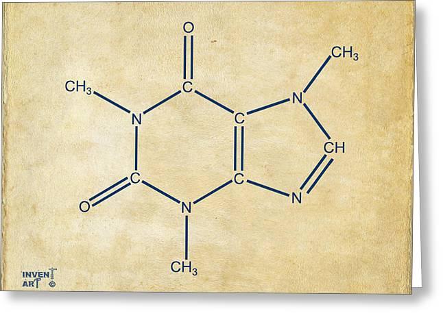 Caffeine Greeting Cards - Caffeine Molecular Structure Vintage Greeting Card by Nikki Marie Smith