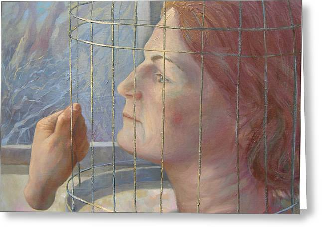 Caged Greeting Card by Alla Parsons