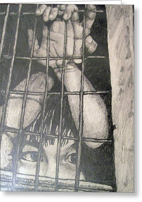 Greeting Card featuring the drawing Caged by Jean Haynes