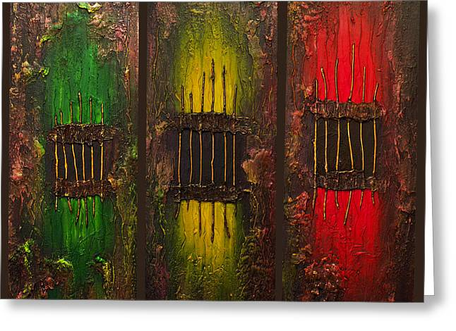 Caged Abstract Greeting Card by Patricia Lintner