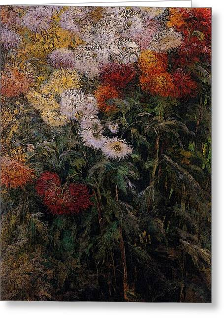 Caillebotte Gustave Clump Of Chrysanthemums Garden At Petit Gennevilliers Greeting Card