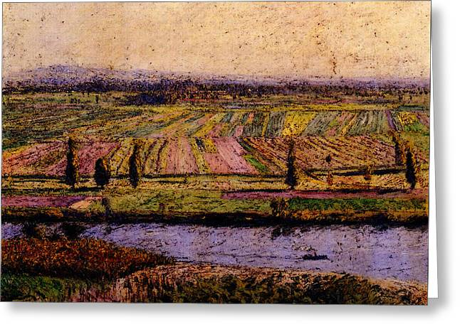 Caillebotte Gustave The Gennevilliers Plain Seen From The Slopes Of Argenteuil Greeting Card