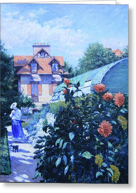 Caillebotte's Dahlias, Garden At Petit Gennevilliers Greeting Card