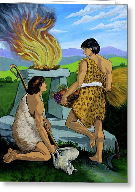 Cain Greeting Cards - Cain and Abel Greeting Card by Karon Melillo DeVega