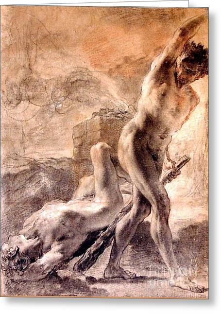 Cain And Abel Greeting Card by Pg Reproductions
