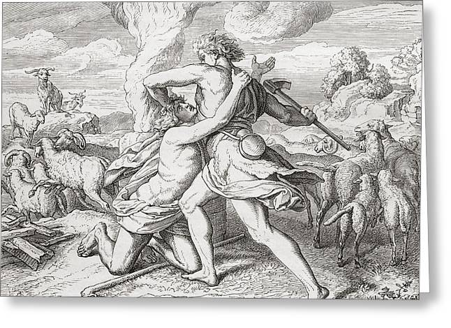 Cain Killing His Brother Abel, After Greeting Card by Vintage Design Pics