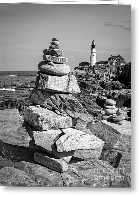 Cairn And Lighthouse  -56052-bw Greeting Card