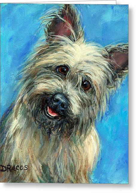 Cairn Terrier Smiling On Blue Greeting Card by Dottie Dracos