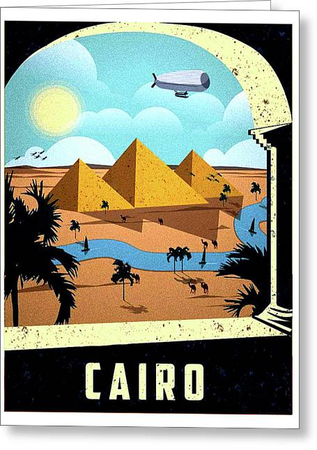 Cairo, Egypt, Pyramids, Hotel Window Greeting Card