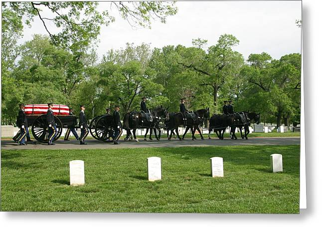 Caisson On The Way To A Burial Site Greeting Card by Skip Brown