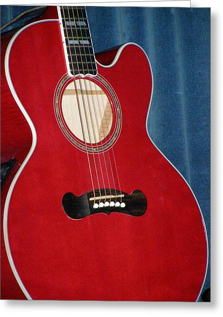 Caitlyn's Red Guitar  Greeting Card by Christine Sullivan Cuozzo