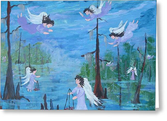 Cajun Angels Greeting Card by Mary Crochet