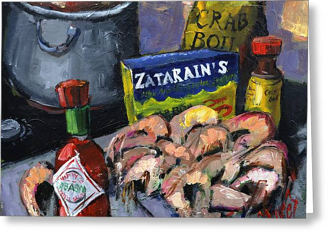 Sauce Greeting Cards - Cajun Boil Greeting Card by Carole Foret