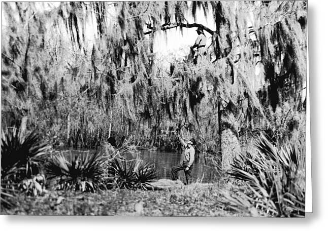 Cajuns Collecting Moss Greeting Card by Underwood Archives