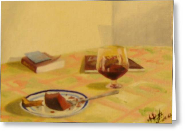 Cake And Wine Greeting Card by Anil Singh