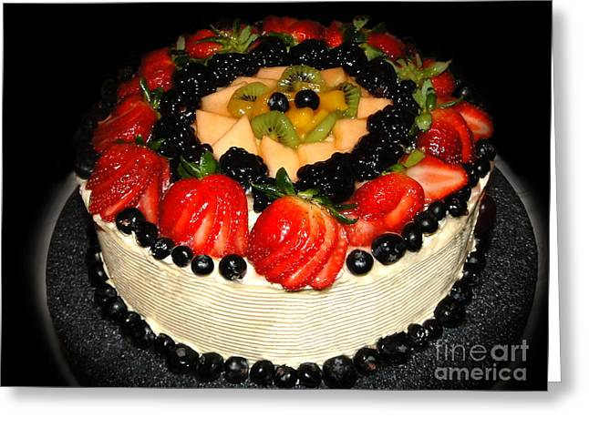 Cake Decorated With Fresh Fruit Greeting Card by Sue Melvin