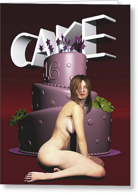 Greeting Card featuring the painting Cake by Jan Keteleer