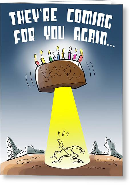 Cake Spaceship Greeting Card by Mark Armstrong