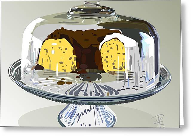 Cake Under Glass Greeting Card by Debra Baldwin