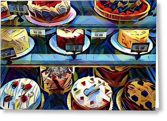 Cakes On Display Greeting Card by Sarah Vandenbusch