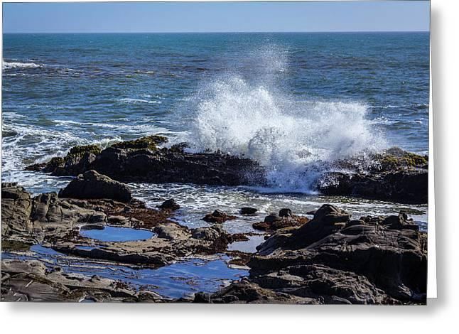 Cal Coast Wave Crash 2 Greeting Card