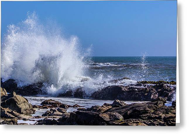 Wave Crashing On California Coast Greeting Card