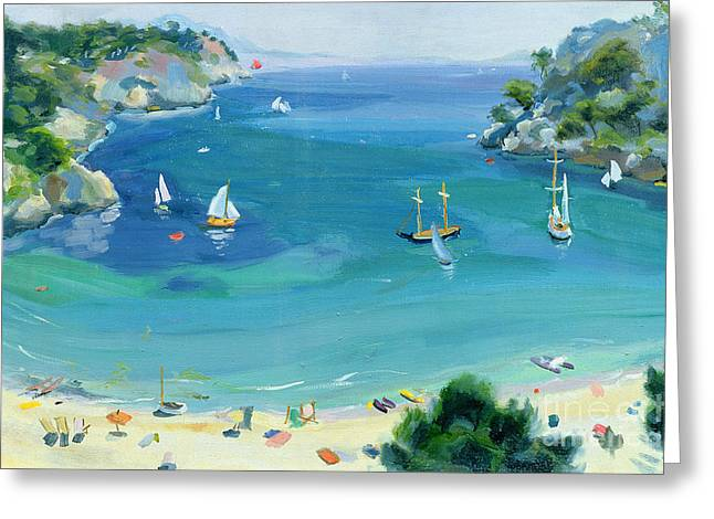 Ocean Shore Paintings Greeting Cards - Cala Galdana - Minorca Greeting Card by Anne Durham