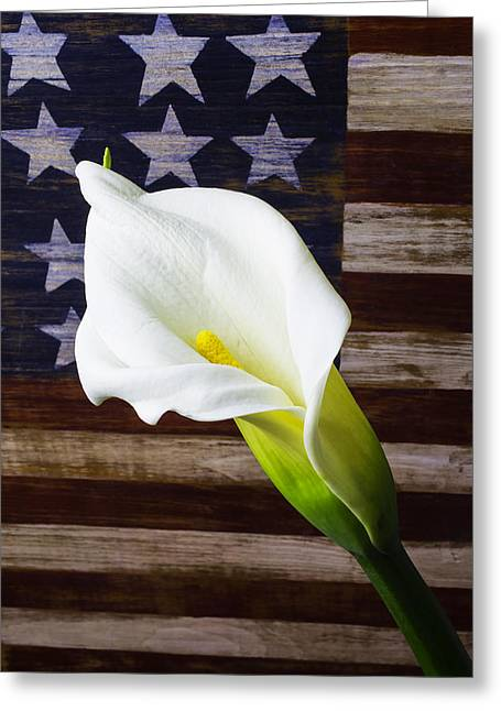 Cala Lily And American Flag Greeting Card by Garry Gay