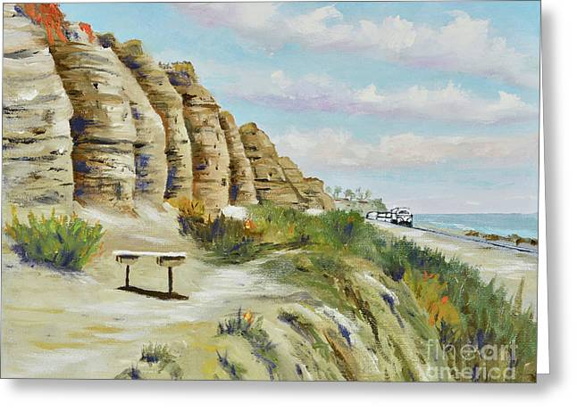 Greeting Card featuring the painting Calafia Beach Trail by Mary Scott