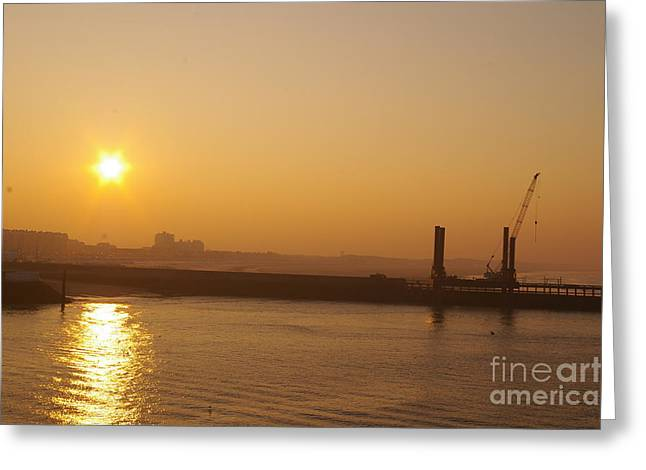 Calais Harbour Greeting Card by Catja Pafort