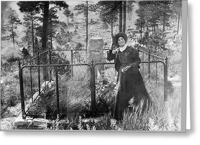 Calamity Jane At Wild Bill Hickok's Grave 1903 Greeting Card by Daniel Hagerman