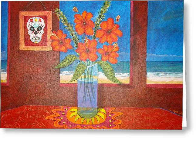 Calavera In Paradise Greeting Card