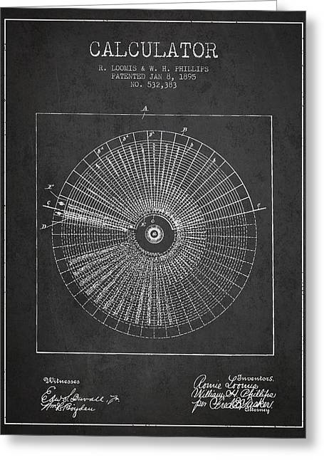 Calculator Patent From 1895 - Charcoal Greeting Card by Aged Pixel
