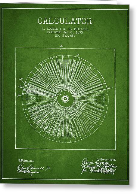 Calculator Patent From 1895 - Green Greeting Card by Aged Pixel