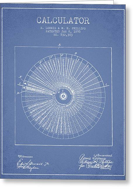 Calculator Patent From 1895 - Light Blue Greeting Card by Aged Pixel