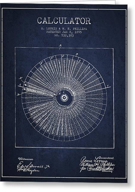 Calculator Patent From 1895 - Navy Blue Greeting Card by Aged Pixel