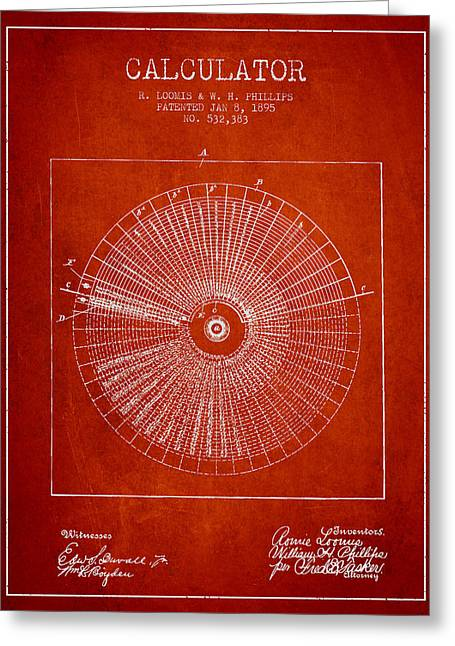 Calculator Patent From 1895 - Red Greeting Card